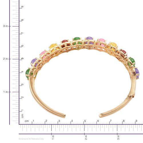 Yellow Jade (Ovl), Red Jade, Green Jade, Pink Jade and Purple Jade Cuff Bangle (Size 7.5) in ION Plated 18K Yellow Gold Bond 28.500 Ct.