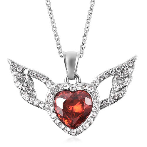Simulated Garnet and White Austrian Crystal Heart with Wing Pendant with Chain (Size 20) in Stainles
