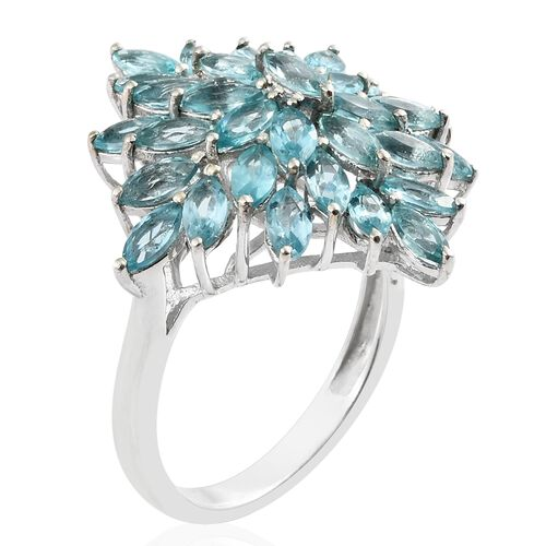 Paraiba Apatite (Mrq) Cluster Ring in Platinum Overlay Sterling Silver 5.250 Ct.