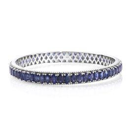 Masoala Sapphire (Ovl) Bangle (Size 6.5) in Platinum Overlay Sterling Silver 22.500 Ct. Silver wt 11