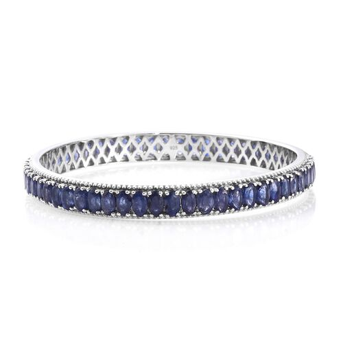 Masoala Sapphire (Ovl) Bangle (Size 6.5) in Platinum Overlay Sterling Silver 22.500 Ct. Silver wt 11