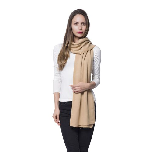 Italian Designer Inspired Merino Wool Blend (50% Merino Wool) Cream Colour Scarf (Size 200x55 Cm)
