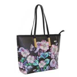 New Season - Floral Printed Black Colour Handbag (27 x 29 x 11 Cms)