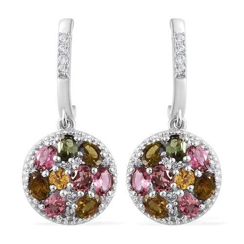 3.75 Ct Rainbow Tourmaline J Hoop Cluster Earrings in Platinum Plated Silver