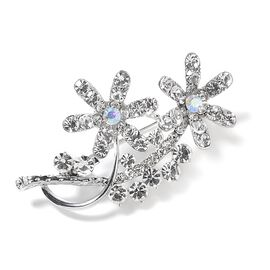 White and Magic Colour Austrian Crystal (Rnd) Flower Bouquet Brooch
