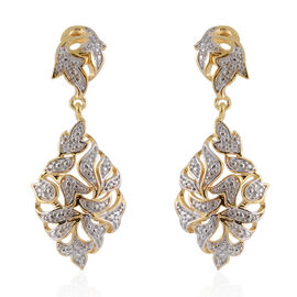 Diamond Filigree Drop Earrings with Push Back in 14K Gold Plated Silver