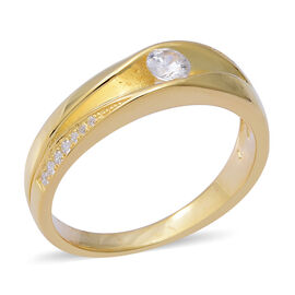 ELANZA Simulated Diamond (Rnd) Band Ring in Yellow Gold Overlay Sterling Silver