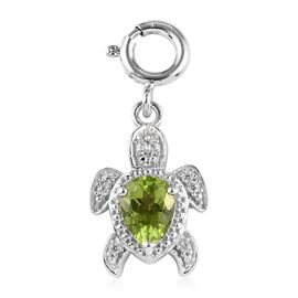 Sundays Child - AA Hebei Peridot, Natural Cambodian Zircon Turtle Charm in Platinum Overlay Sterling