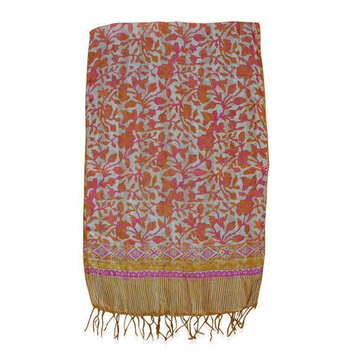 Orange and Multi Colour Floral Print 100% Silk Scarf (Size 150x45 Cm)