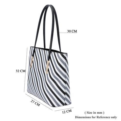 Diagonal Stripe Pattern Tote Bag with Zipper Closure and External Pocket (Size 32x11x26 Cm) - Grey, White and Black