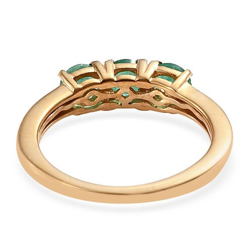 One Time Deal- Santa Terezinha Premium Emerald (Rnd) Trilogy Ring in 14K Gold Overlay Sterling Silver 1.000 Ct.