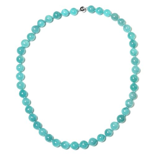 Russian Amazonite (Rnd 9-11mm) Beads Necklace (Size 20) with Magnetic Lock Rhodium Plated Sterling Silver 306.000 Ct.