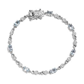 Sky Blue Topaz Bracelet (Size 7.5) in Platinum Plated 3.50 Ct.
