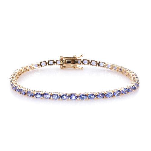 9K Yellow Gold AA Tanzanite (Ovl) Tennis Bracelet (Size 7) 7.000 Ct, Gold wt 7.30 Gms.