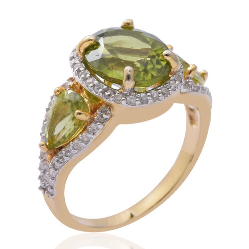 Hebei Peridot (Ovl), Natural Cambodian White Zircon Ring in Yellow Gold and Platinum Overlay Sterling Silver 6.590 Ct.