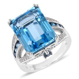Super Swiss Blue Topaz (Oct 13.50 Ct), London Blue Topaz and Natural White Cambodian Zircon Ring in Rhodium Overlay Sterling Silver 15.030 Ct. Silver wt 5.18 Gms.