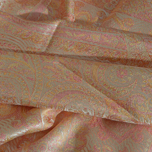 SILK MARK - 100% Superfine Silk Coral, Pink and Multi Colour Paisley and Floral Pattern Jacquard Jamawar Scarf with Fringes (Size 180x70 Cm) (Weight 125-140 Grams)