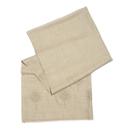 Limited Edition Beige Colour New Zealand Super Fine Merino Wool and Silk Scarf with Crystal Embellishment (Size 170X70 Cm)