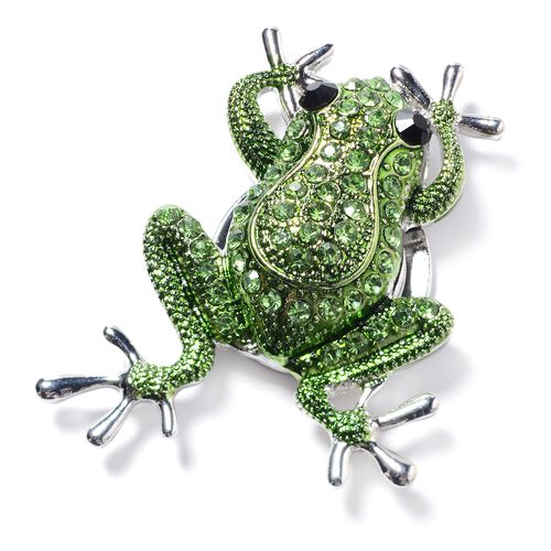 Green and Black Austrian Crystal (Rnd) Magnetic Frog Brooch in Silver Tone