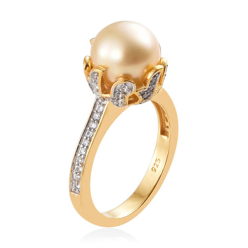 Royal Bali Collection South Sea Golden Pearl (Rnd), Natural White Cambodian Zircon Ring in Yellow Gold Vermeil with Platinum Overlay Sterling Silver