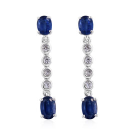 Kashmir Blue Kyanite (Ovl), Natural Cambodian Zircon Earrings (with Push Back) in Platinum Overlay Sterling Silver 2.135 Ct.