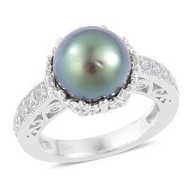 Tahitian Pearl (Rnd 10-11 mm), Natural Cambodian White Zircon Ring in Platinum Overlay Sterling Silv