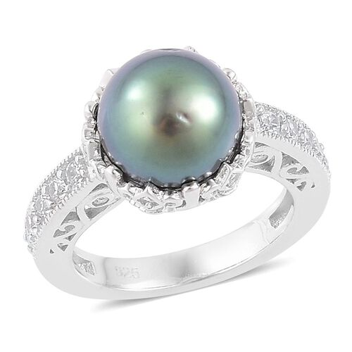 Tahitian Pearl (Rnd 10-11 mm), Natural White Cambodian Zircon Ring in Platinum Overlay Sterling Silver