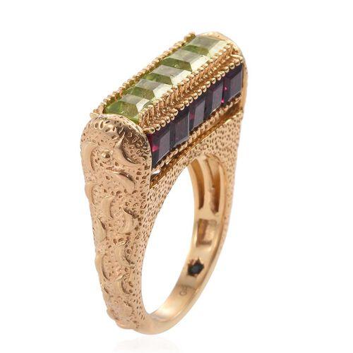 GP Rhodolite Garnet (Sqr), Sky Blue Topaz, Hebei Peridot, Amethyst and Kanchanaburi Blue Sapphire Ring in 14K Gold Overlay Sterling Silver 7.750 Ct.