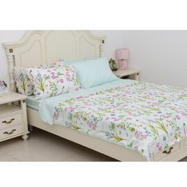 6 Piece Set  - Floral Pattern Duvet Cover (Size 200x200Cm), 4 Pillow Case (Size 4x50x70+5 Cm) and Fi