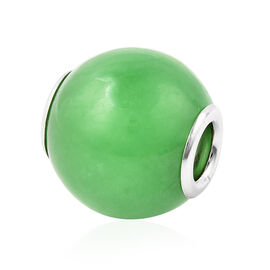 Charms De Memoire - Green Jade Charm in Rhodium Overlay Sterling Silver 17.50 Ct.