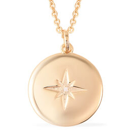 RACHEL GALLEY Diamond Star Pendant with 20 Inch Chain in Gold Plated Silver