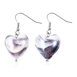 Purple Colour Murano Glass Heart Hook Earrings in Rhodium Overlay Sterling Silver.