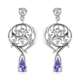 Tanzanite and Zircon Dangle Earring in Platinum Plated Sterling Silver 1.03 Ct