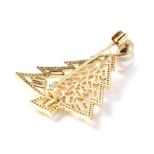 Simulated Diamond and White Shell Pearl Christmas Tree Brooch in Gold Tone