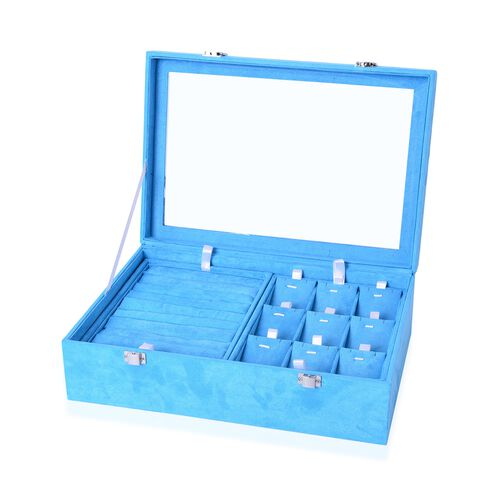 Light Blue Colour Two Layer Jewellery Box with Transparent Top (Size 35.5X24.3X10 Cm)