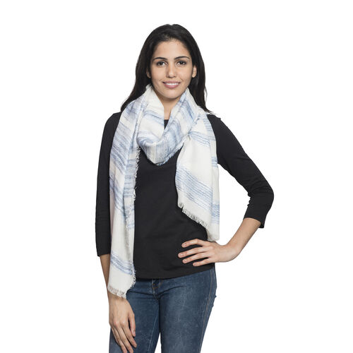 90% Cotton Blue and Black Colour Ornamental Pattern White Colour Jacquard Scarf (Size 180x70 Cm)