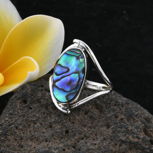 Royal Bali Collection Abalone Shell (Ovl 20x11 mm) Ring in Sterling Silver