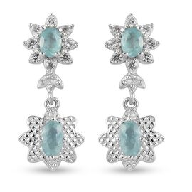 AAA Grandidierite and Natural Cambodian Zircon Floral Dangling Earrings (with Push Back) in Platinum