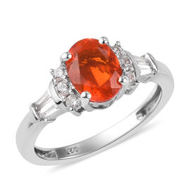 Collectors Edition Jalisco Fire Opal and Natural Cambodian Zircon Ring in Platinum Overlay Sterling