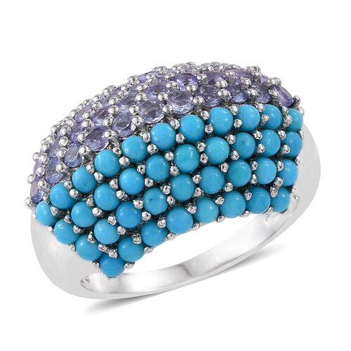 AA Arizona Sleeping Beauty Turquoise (Rnd), Tanzanite Cluster Ring in Platinum Overlay Sterling Silver 3.250 Ct.