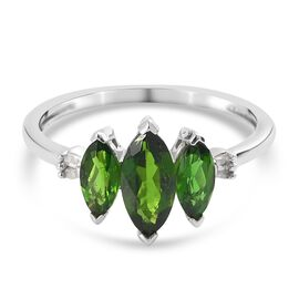 Russian Diopside and Diamond Ring in Platinum Overlay Sterling Silver 1.26 Ct.