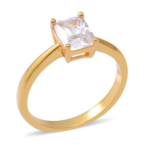 ELANZA Swiss Star Simulated Diamond Solitaire Ring in Yellow Gold Overlay Sterling Silver