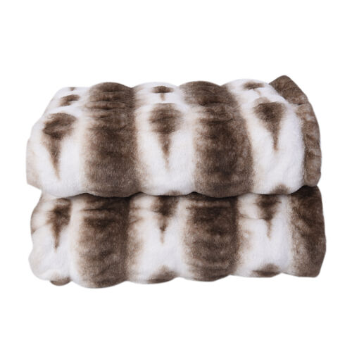 Supersoft High Quality Faux Fur Sherpa Blanket (150x200 cm) - White and Dark Grey