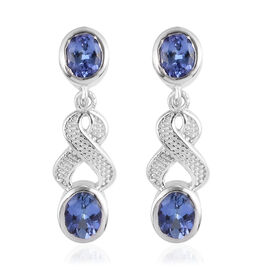 Tanzanite Enamelled Dangle Earrings (with Push Back) in Platinum Overlay Sterling Silver 1.50 Ct.