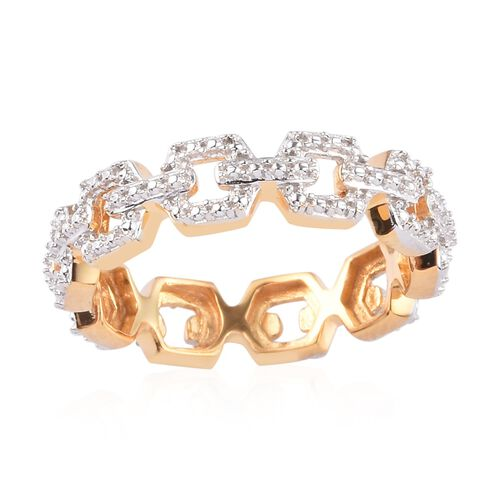 One Time Deal- Diamond Link Band Ring 14K Gold Overlay Sterling Silver