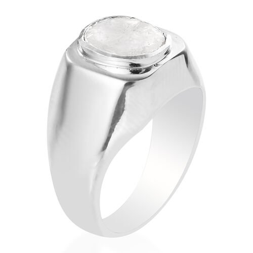 Artisan Crafted Polki Diamond Ring in Platinum Overlay Sterling Silver 0.33 Ct, Silver wt 8.00 Gms