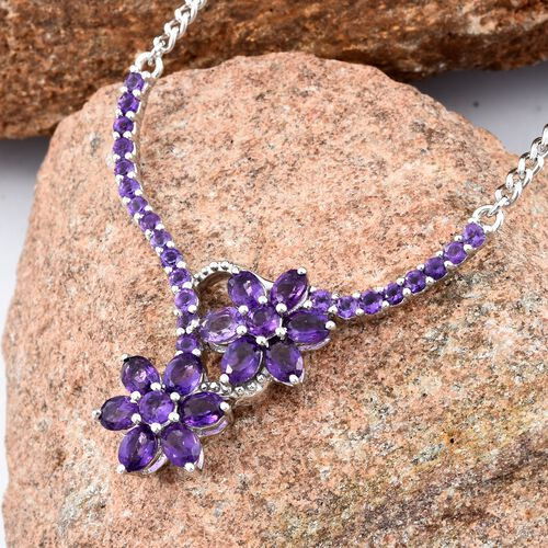 AA Amethyst Floral Necklace in Platinum Plated 18 Inch 3 Carat