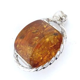 Natural Baltic Amber Pendant in Sterling Silver
