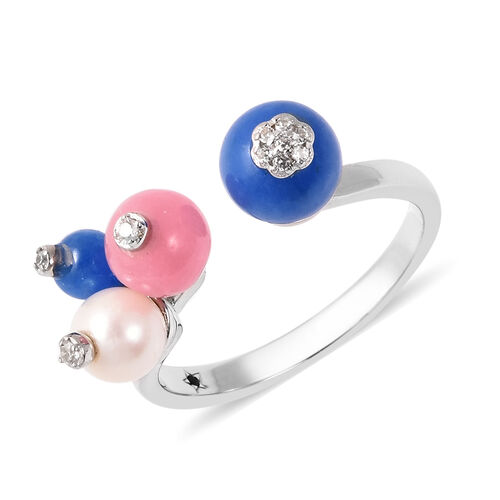 GP Freshwater Pearl and Multi Gemstone Flower Bud Open Adjustable Ring in Rhodium Plated Silver