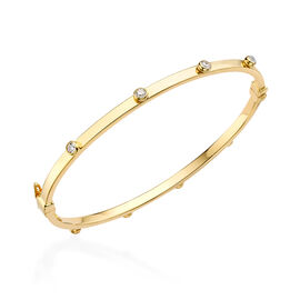 One Time Close Out Deal - 9K Yellow Gold Cubic Zirconia Bangle (Size 7), Gold wt 4.25 Gms